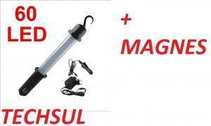 LAMPA LED WARSZTATOWA 60 LED AKU MAGNES 12V 230V
