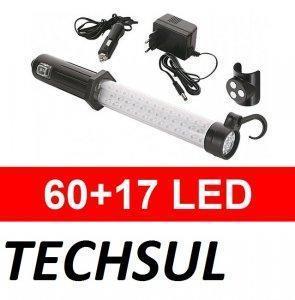 LAMPA LED WARSZTATOWA 60+17 LED MAGNES 12V230V HIT